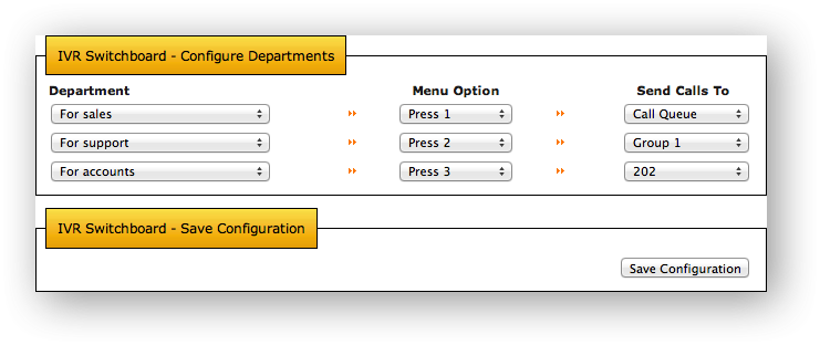 IVR Switchboard - Configure Departments